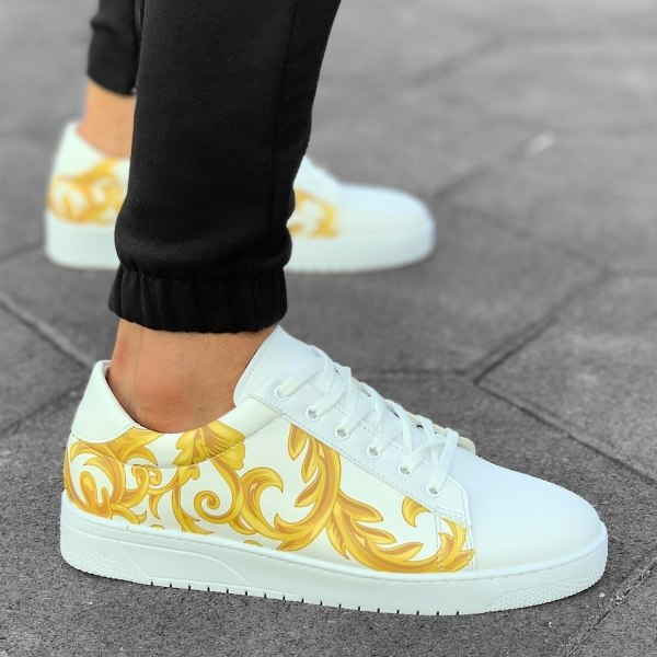 Gold Pattern Sneakers White