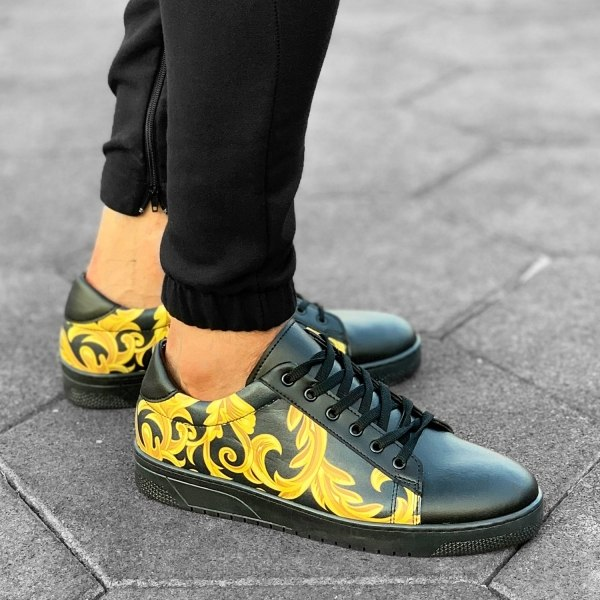 Gold Pattern Sneakers Black