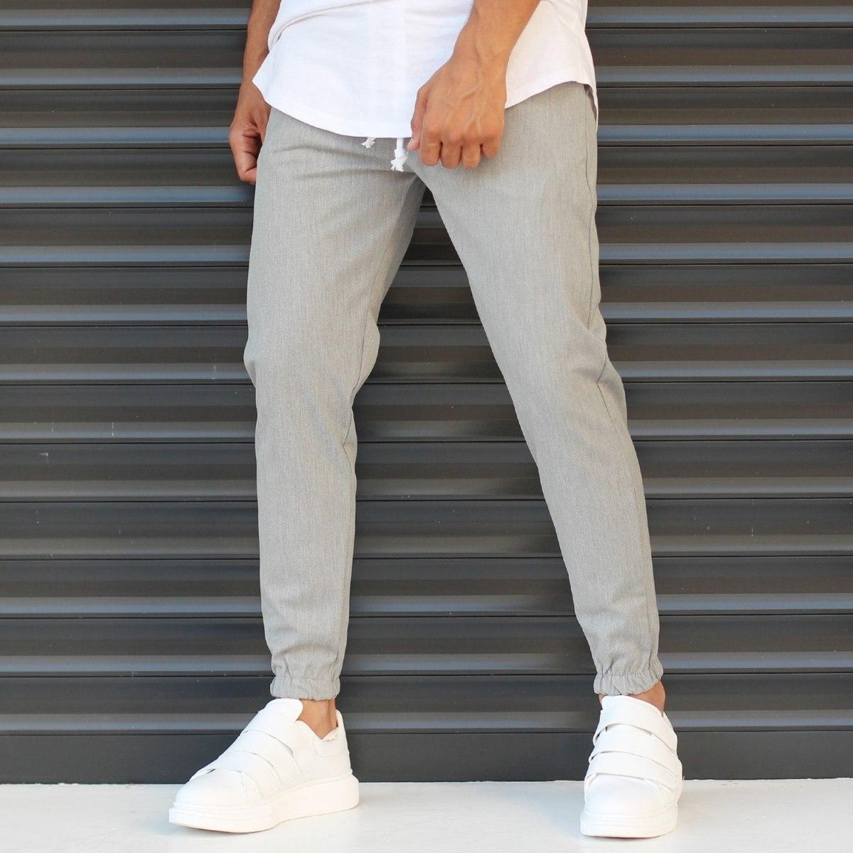 Men's Basic Elasticated Sport Pants Solid Gray Mv Premium Brand - 1