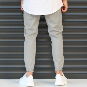 Men's Basic Elasticated Sport Pants Solid Gray Mv Premium Brand - 3