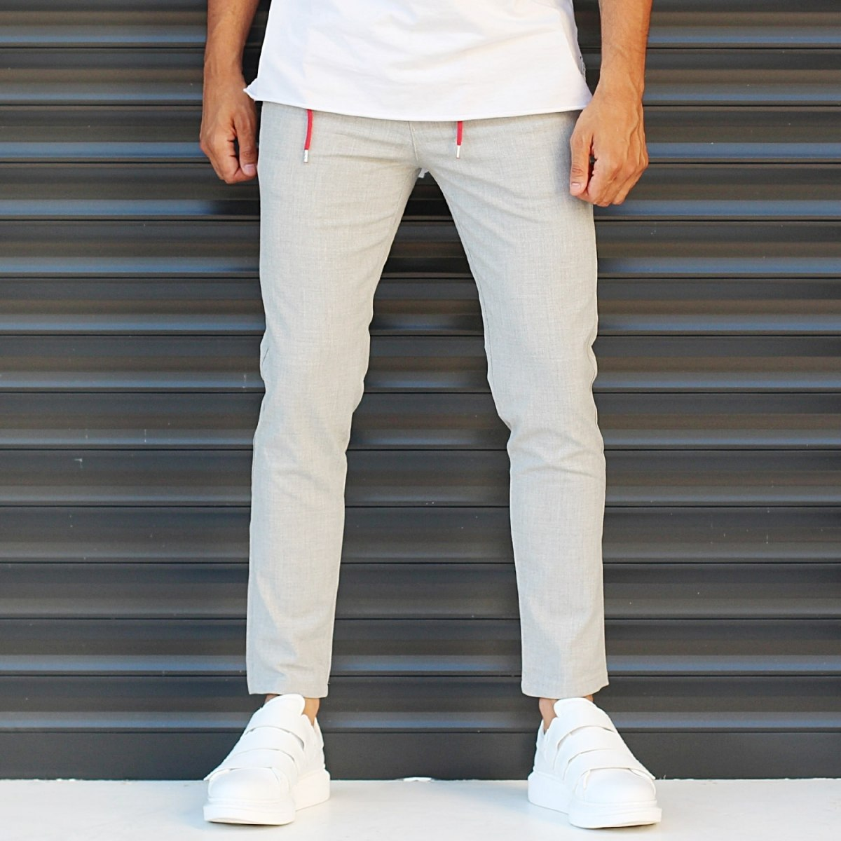 Men's Slim Fit Lycra Sport Pants Cream Mv Premium Brand - 1