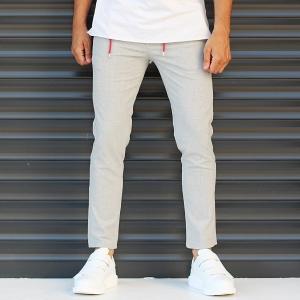 Men's Slim Fit Lycra Sport Pants Cream Mv Premium Brand - 1