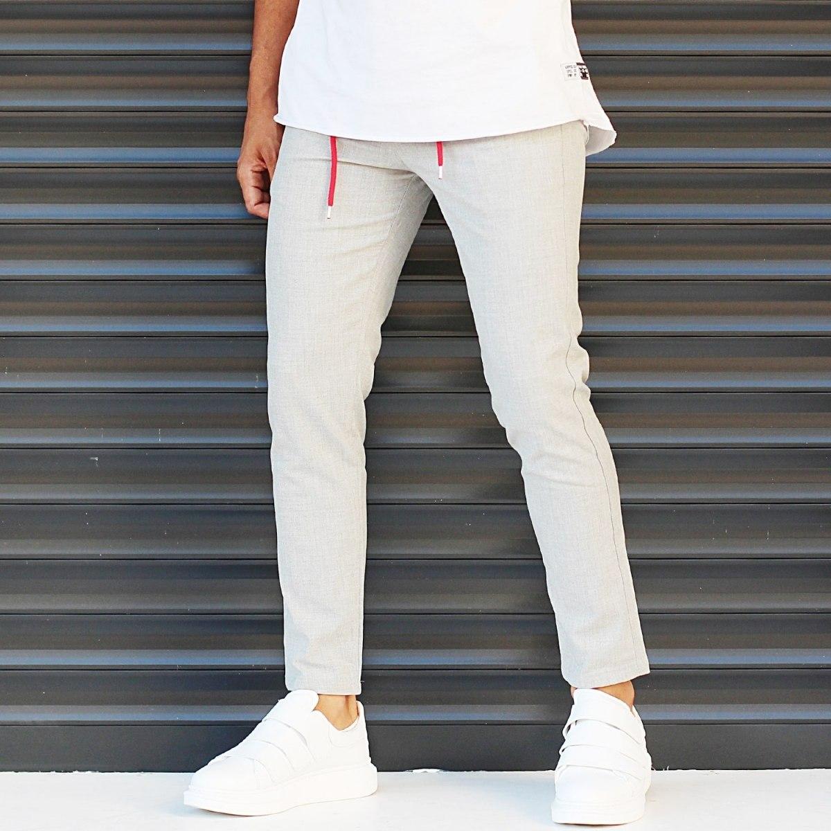 Men's Slim Fit Lycra Sport Pants Cream Mv Premium Brand - 2