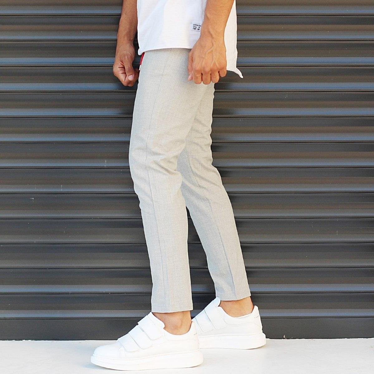 Men's Slim Fit Lycra Sport Pants Cream Mv Premium Brand - 3