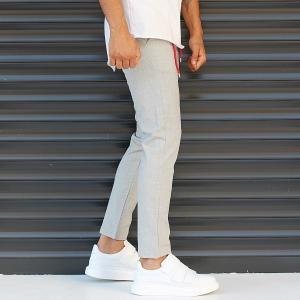 Men's Slim Fit Lycra Sport Pants Cream Mv Premium Brand - 4