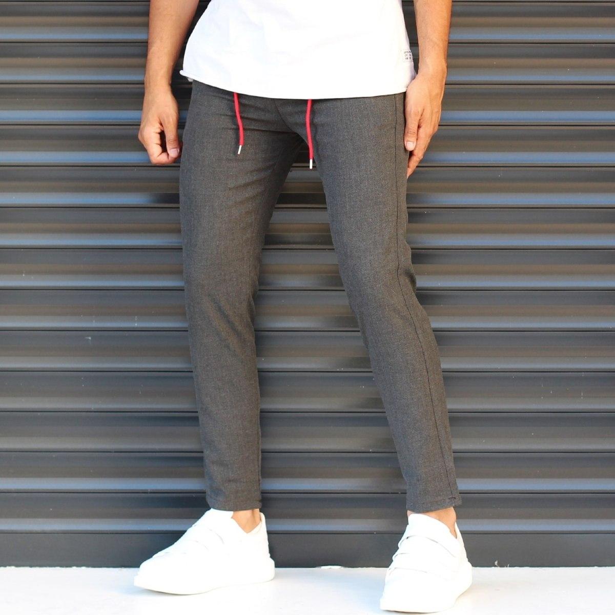 Men's Slim Fit Lycra Sport Pants Dark Gray Mv Premium Brand - 1
