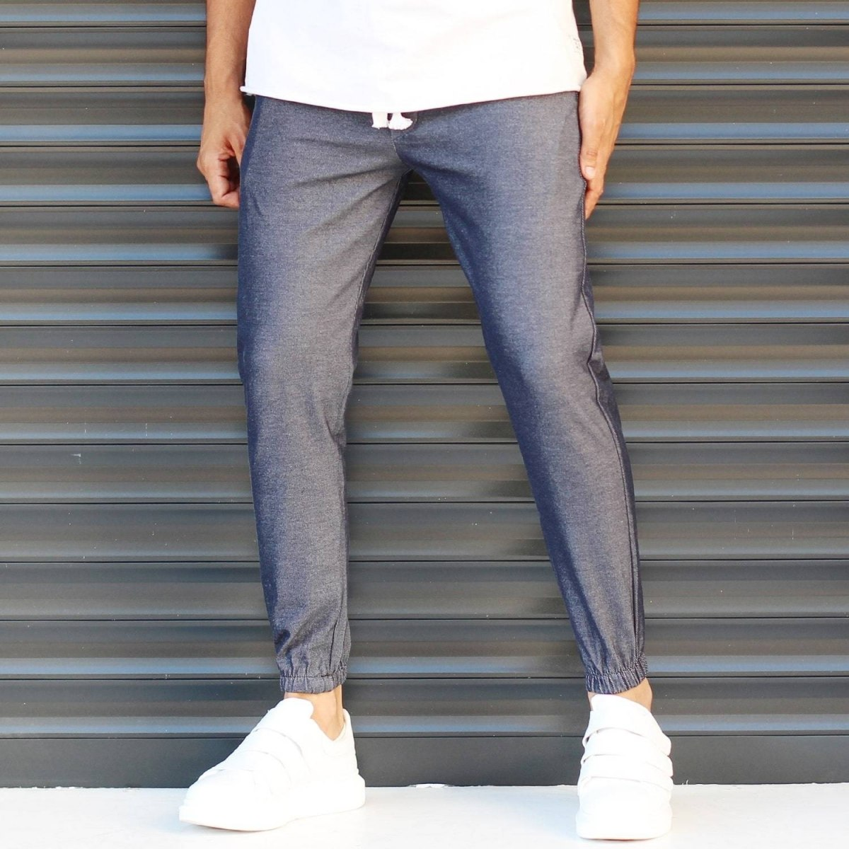Men's Elasticated Basic Sport Pants Dark Gray Mv Premium Brand - 1