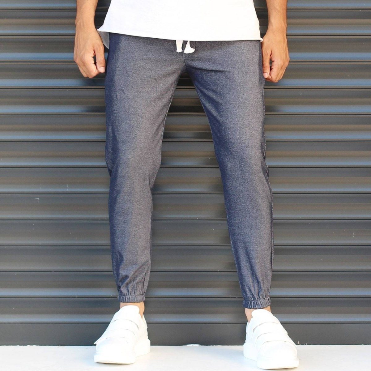 Men's Elasticated Basic Sport Pants Dark Gray Mv Premium Brand - 2