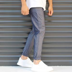 Men's Elasticated Basic Sport Pants Dark Gray Mv Premium Brand - 3