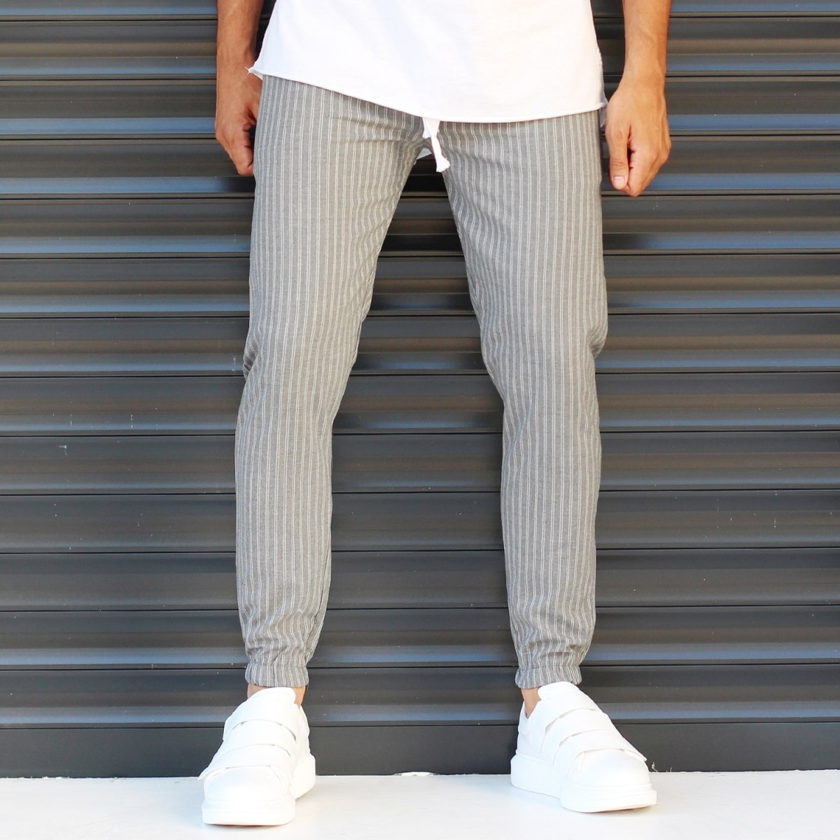 Men's Elasticated Basic Sport Pants With Stripes Gray