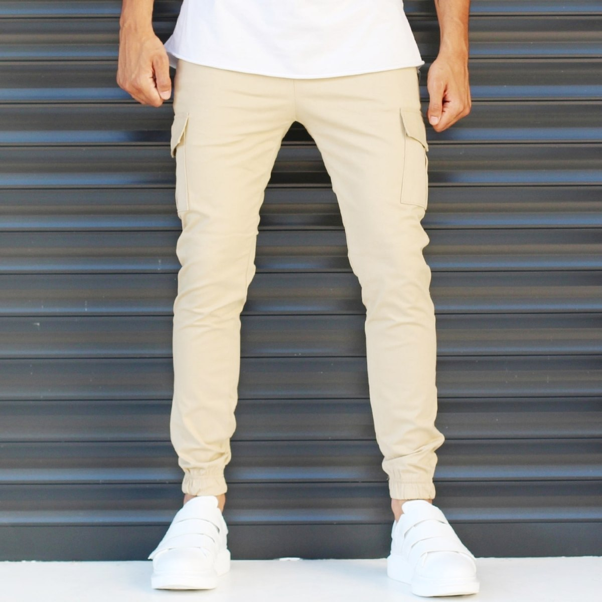 Men's Sport Pants With Side Pockets Beige Mv Premium Brand - 1
