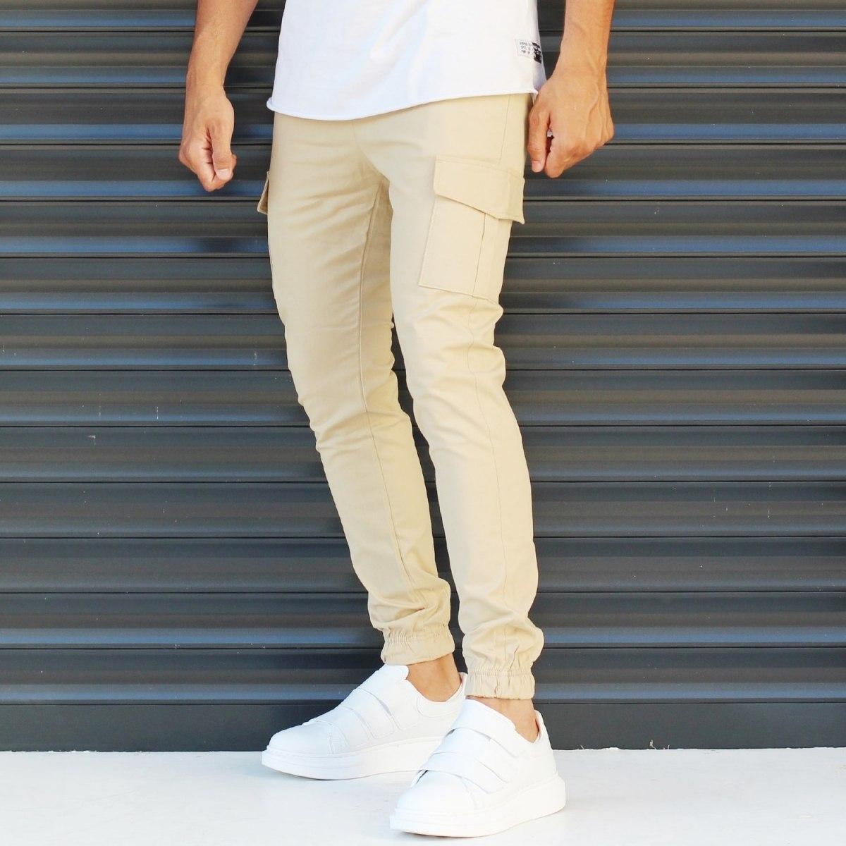 Men's Sport Pants With Side Pockets Beige Mv Premium Brand - 2