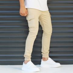 Men's Sport Pants With Side Pockets Beige Mv Premium Brand - 3