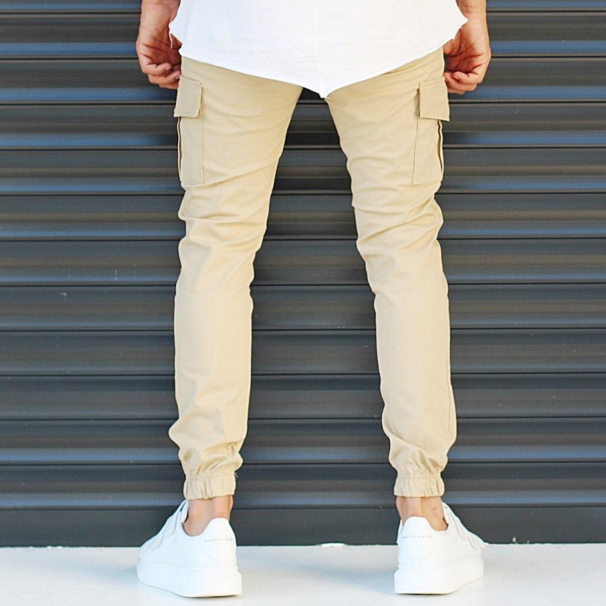 Men's Sport Pants With Side Pockets Beige Mv Premium Brand - 4