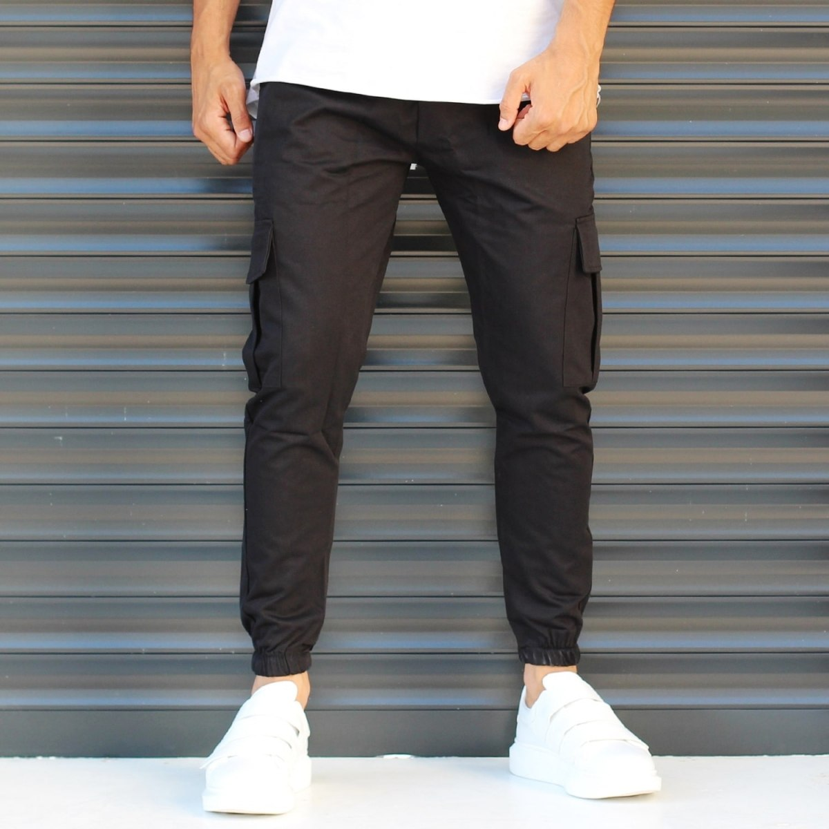 Men's Sport Pants With Side Pockets Black Mv Premium Brand - 1