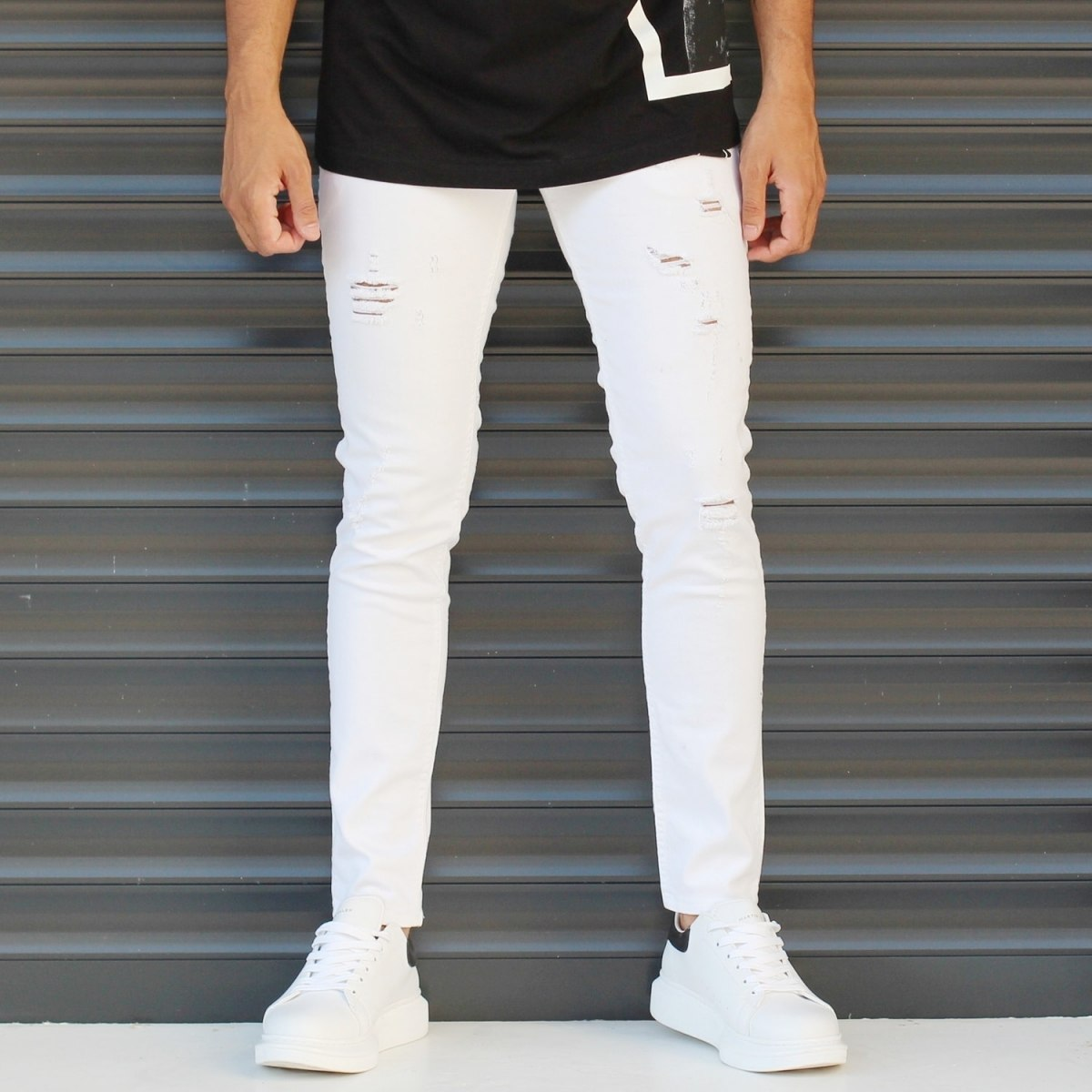 Men's Skinny Jeans With Thin Rips In White Mv Premium Brand - 1