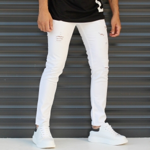 Men's Skinny Jeans With Thin Rips In White Mv Premium Brand - 2
