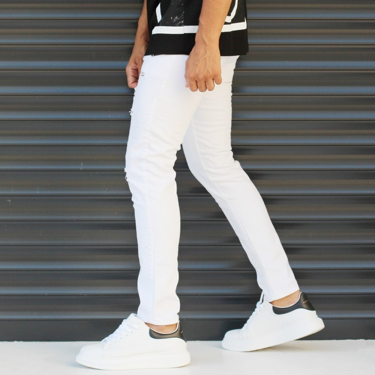 Men's Skinny Jeans With Thin Rips In White Mv Premium Brand - 3
