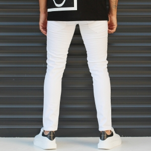Men's Skinny Jeans With Thin Rips In White Mv Premium Brand - 4