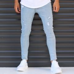 Men's Narrow Jeans With Thin Rips In Denim Blue Mv Premium Brand - 1