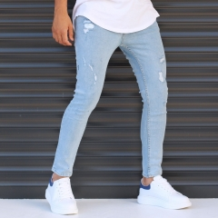 Men's Narrow Jeans With Thin Rips In Denim Blue Mv Premium Brand - 2