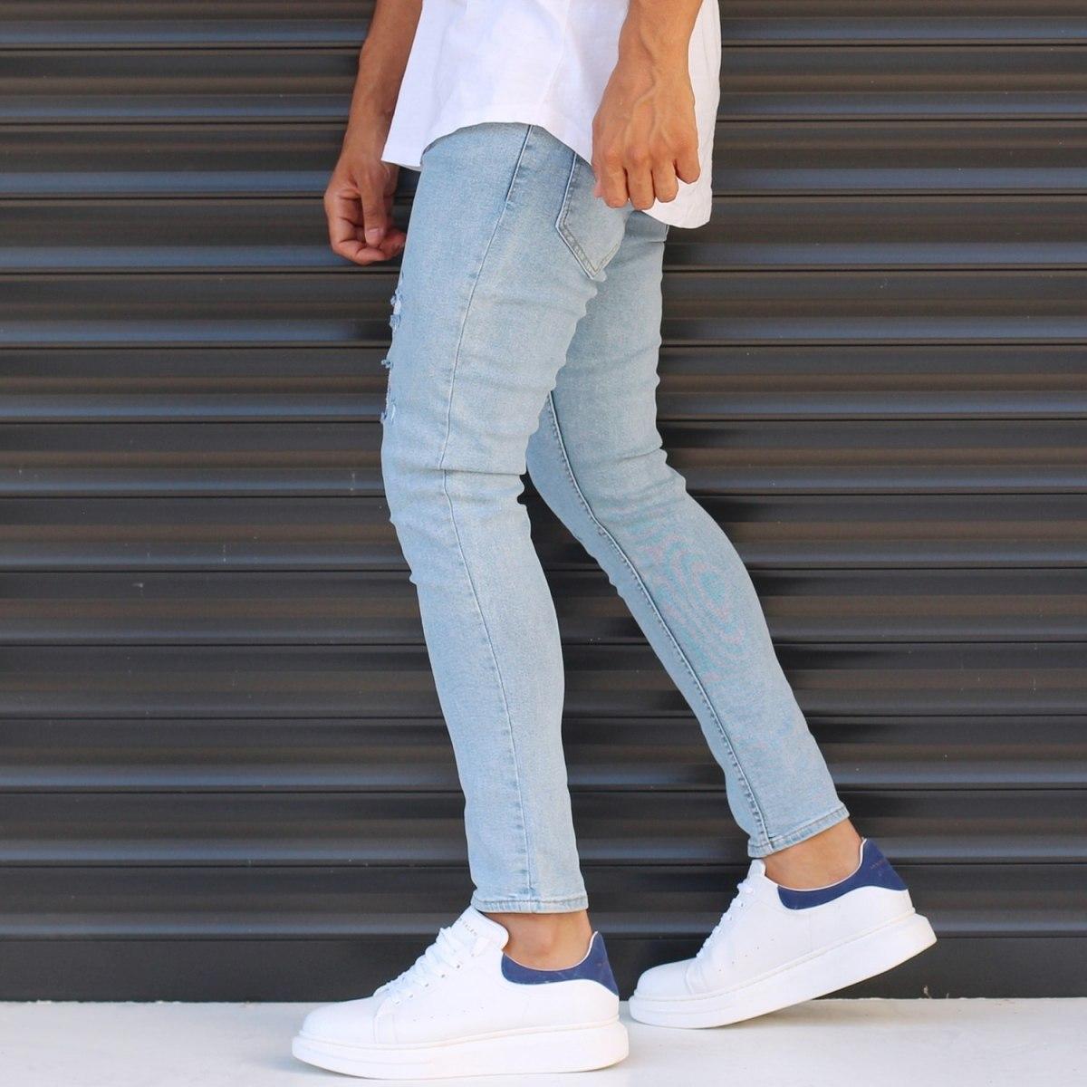 Men's Narrow Jeans With Thin Rips In Denim Blue Mv Premium Brand - 3