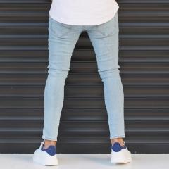 Men's Narrow Jeans With Thin Rips In Denim Blue Mv Premium Brand - 4