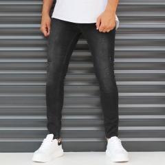 Men's Narrov Leg Jeans With Thin Rips In Black Mv Premium Brand - 1
