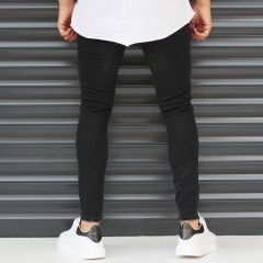 Men's Narrov Leg Jeans With Thin Rips In Black Mv Premium Brand - 2