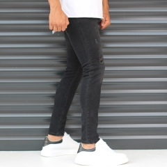Men's Narrov Leg Jeans With Thin Rips In Black Mv Premium Brand - 3