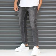 Men's Skinny Sport Jeans In Pale Black Mv Premium Brand - 2