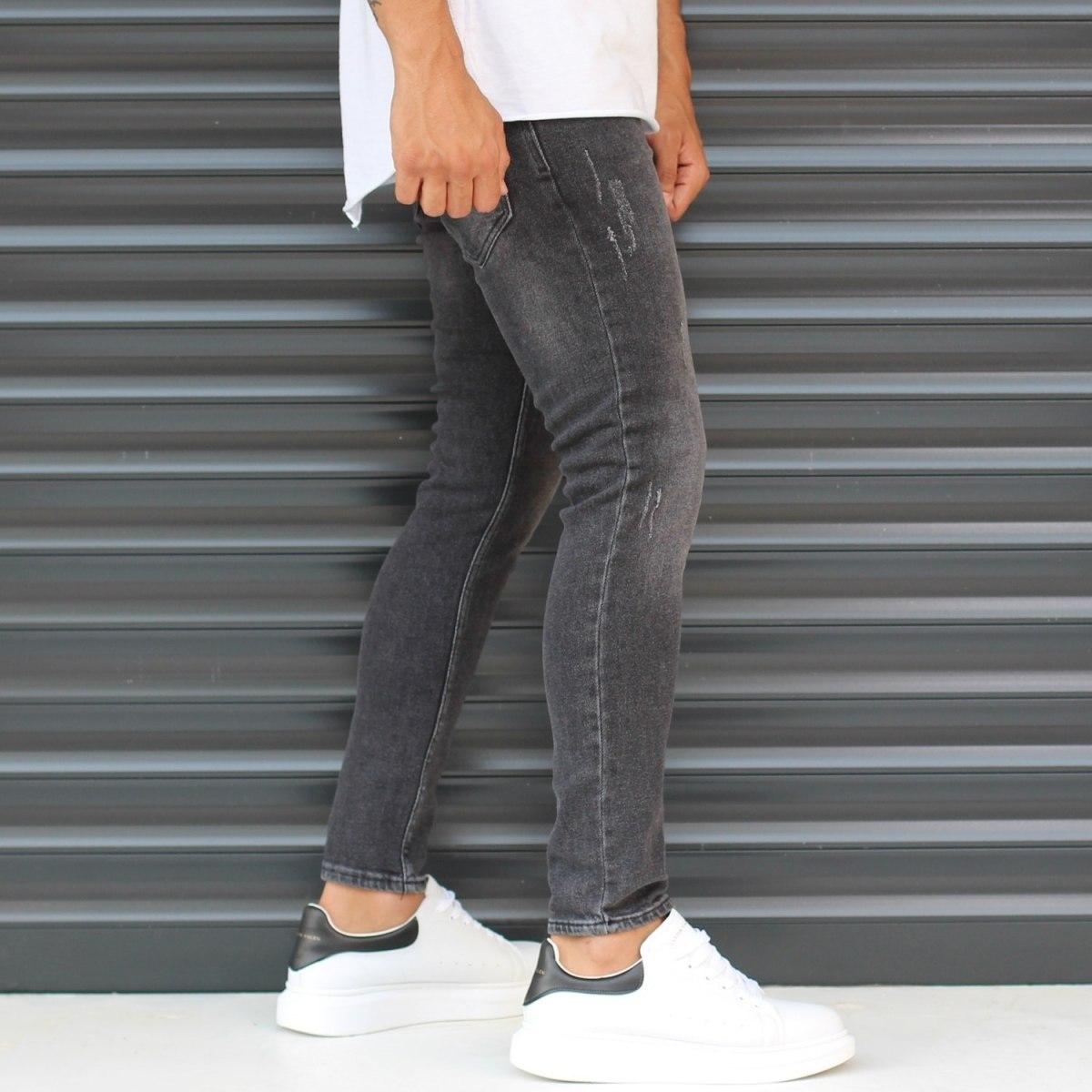 Men's Skinny Sport Jeans In Pale Black Mv Premium Brand - 3