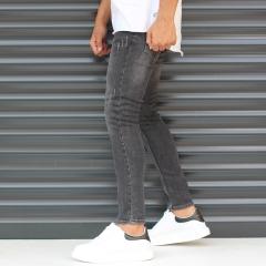 Men's Skinny Sport Jeans In Pale Black Mv Premium Brand - 4