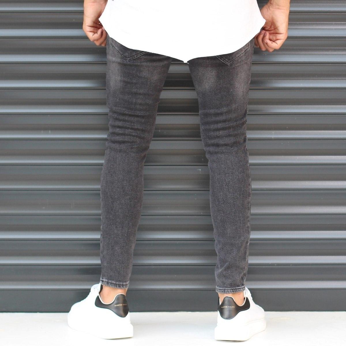 Men's Skinny Sport Jeans In Pale Black Mv Premium Brand - 5