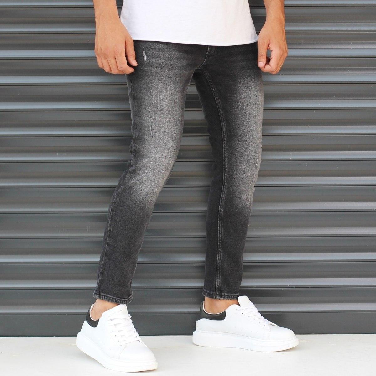 Men's Basic Stonewashed Jeans In Black Mv Premium Brand - 1