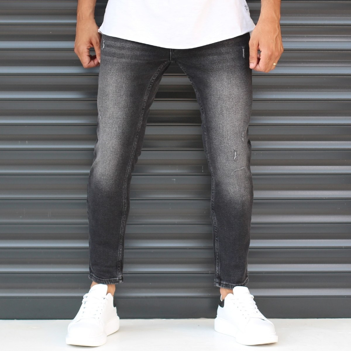 Men's Basic Stonewashed Jeans In Black Mv Premium Brand - 2