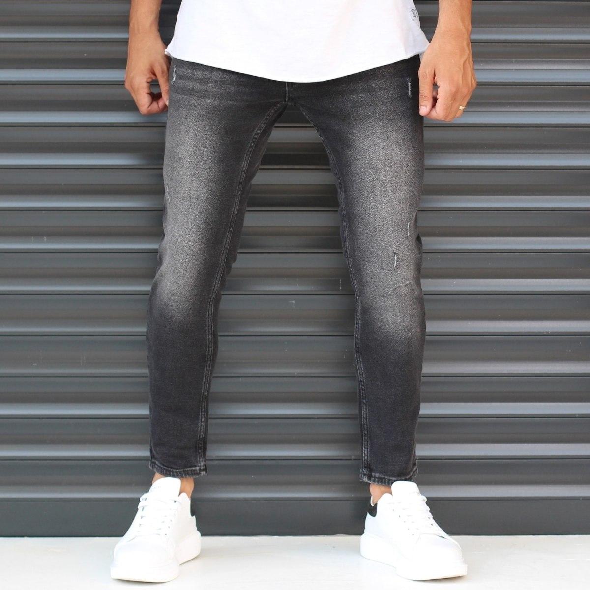 Men's Basic Stonewashed Jeans In Black Mv Premium Brand - 2