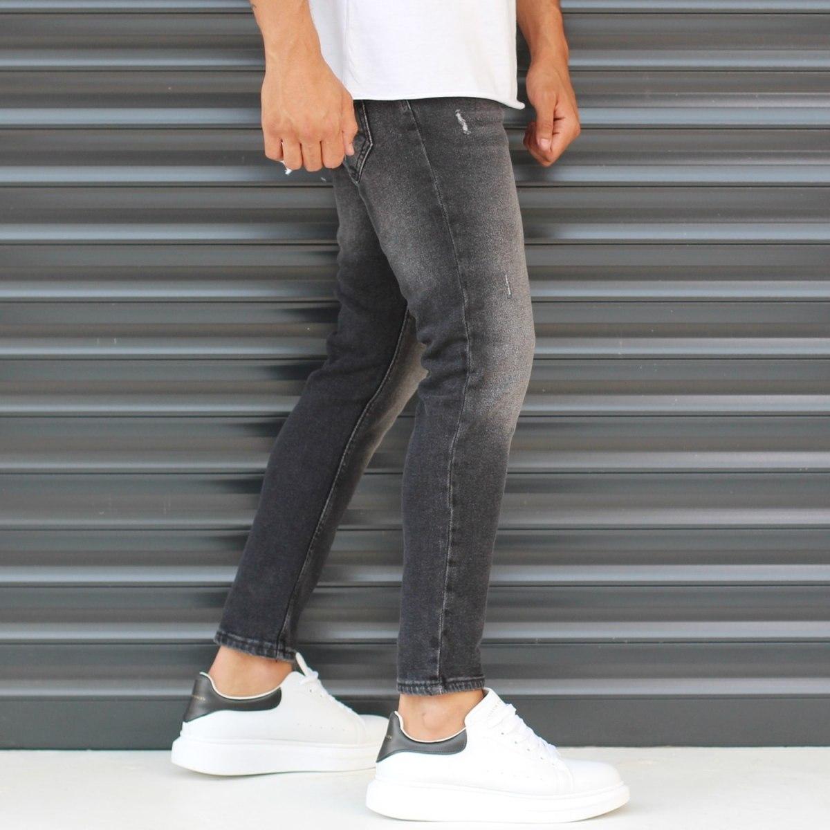 Men's Basic Stonewashed Jeans In Black Mv Premium Brand - 3