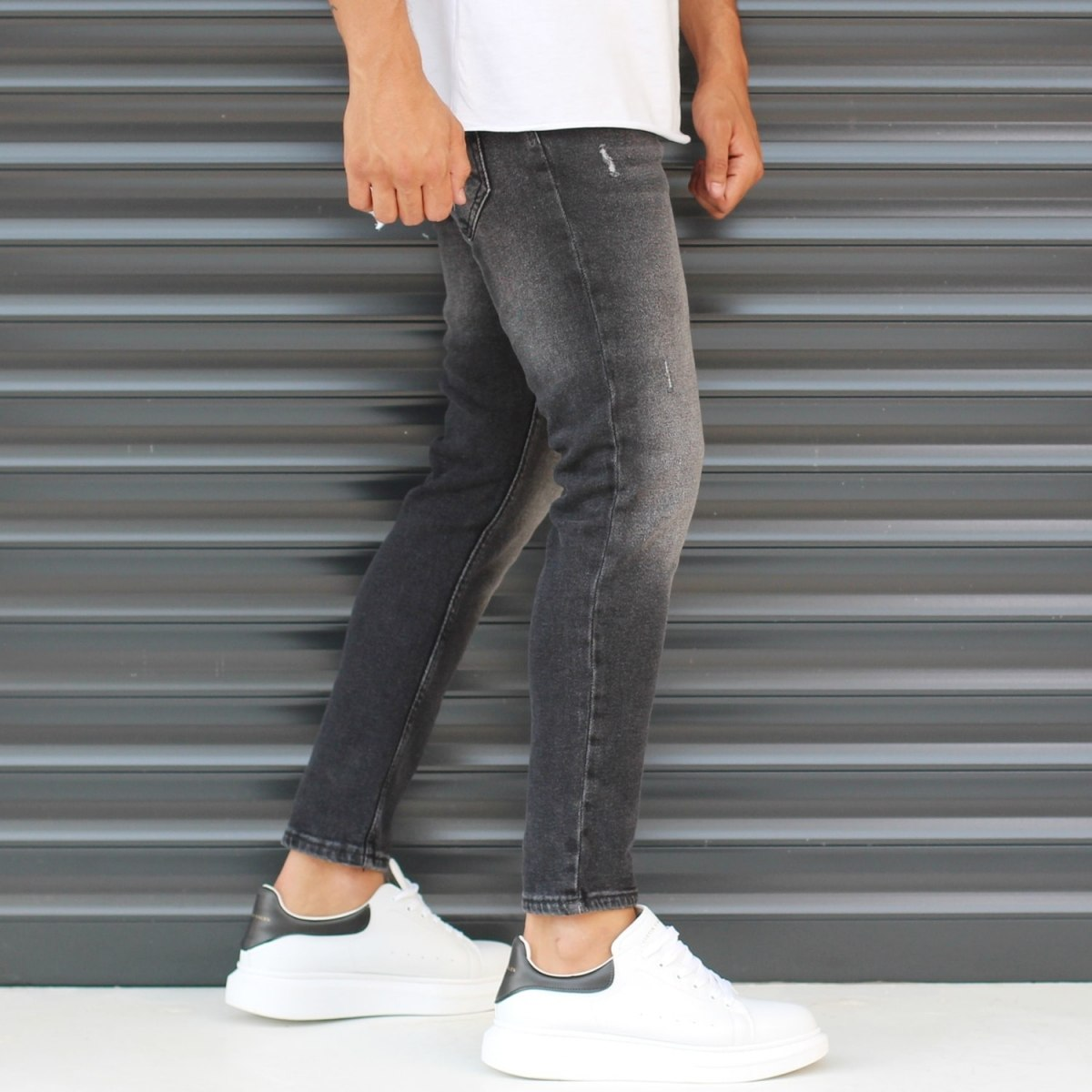 Men's Basic Stonewashed Jeans In Black Mv Premium Brand - 3