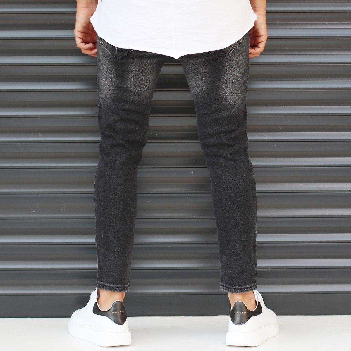 Men's Basic Stonewashed Jeans In Black Mv Premium Brand - 4