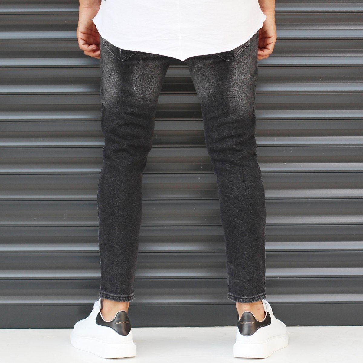 Men's Basic Stonewashed Jeans In Black Mv Premium Brand - 4