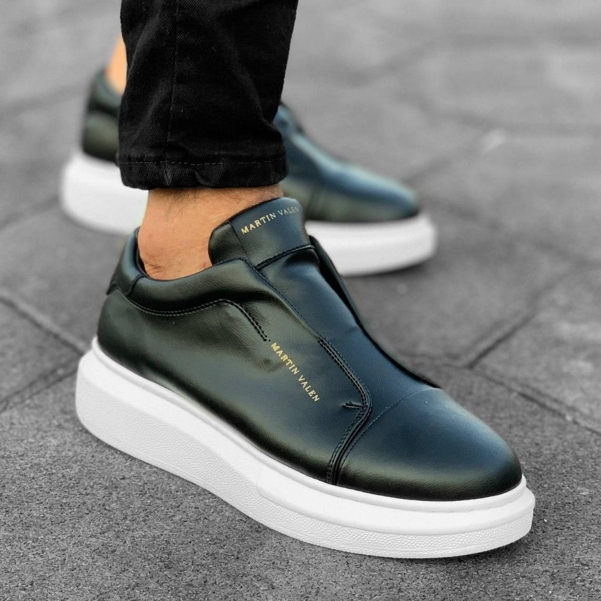 Herren Slip-On Sneakers Ohne Schnürsenkel In Schwarz-Weiß Mv Premium Brand - 5