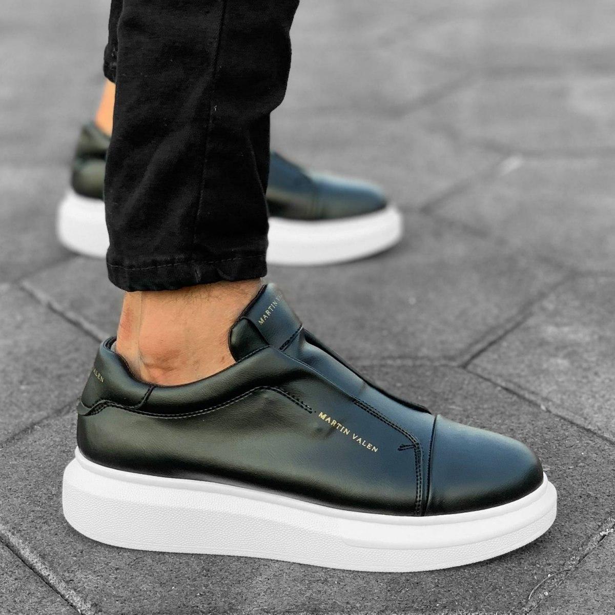 Slip-on Sneakers in Black-White Mv Premium Brand - 6