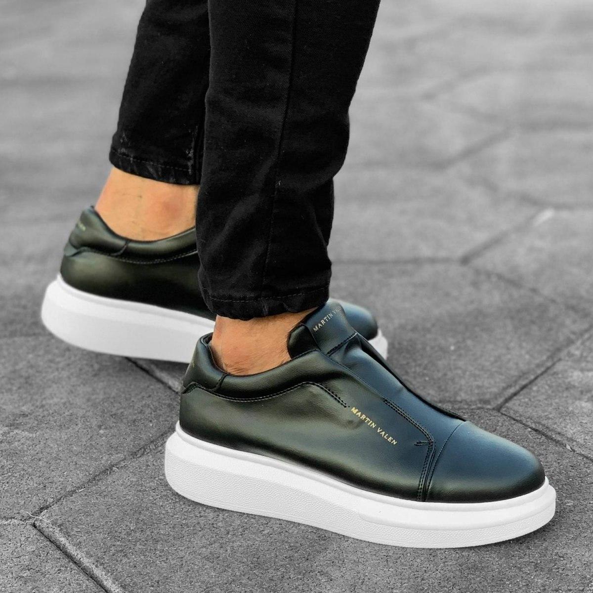 Slip-on Sneakers in Black-White Mv Premium Brand - 7