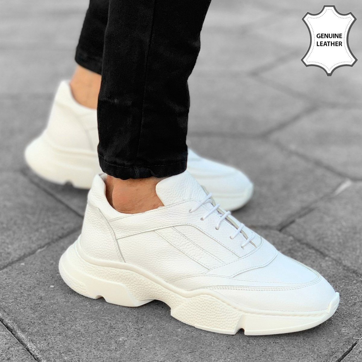 Premium Leather Dyno-Sole Sneakers in Full White
