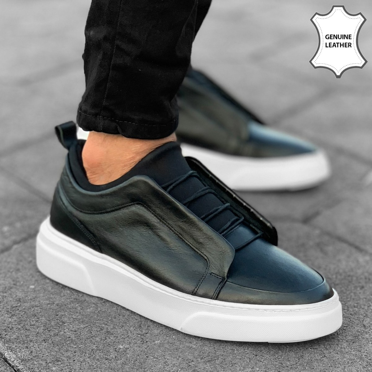 Premium Leather In-Laced Sneakers in Black-White