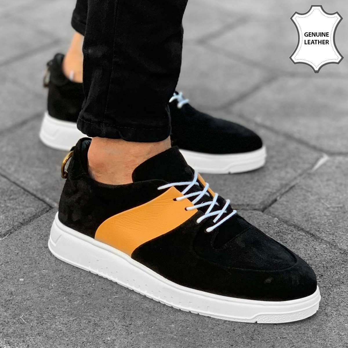 Premium Leather Steel-Ringed Sneakers in Black-Yellow Mv Premium Brand - 1