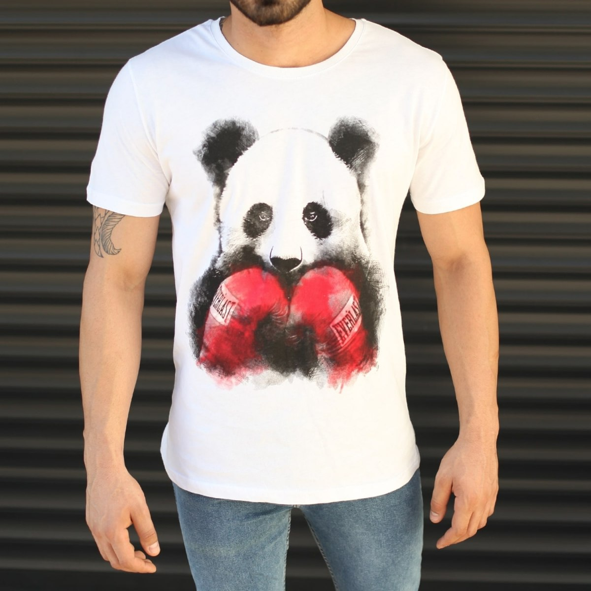 Men's Sporty Panda Printed Fit T-Shirt In White Mv Premium Brand - 1