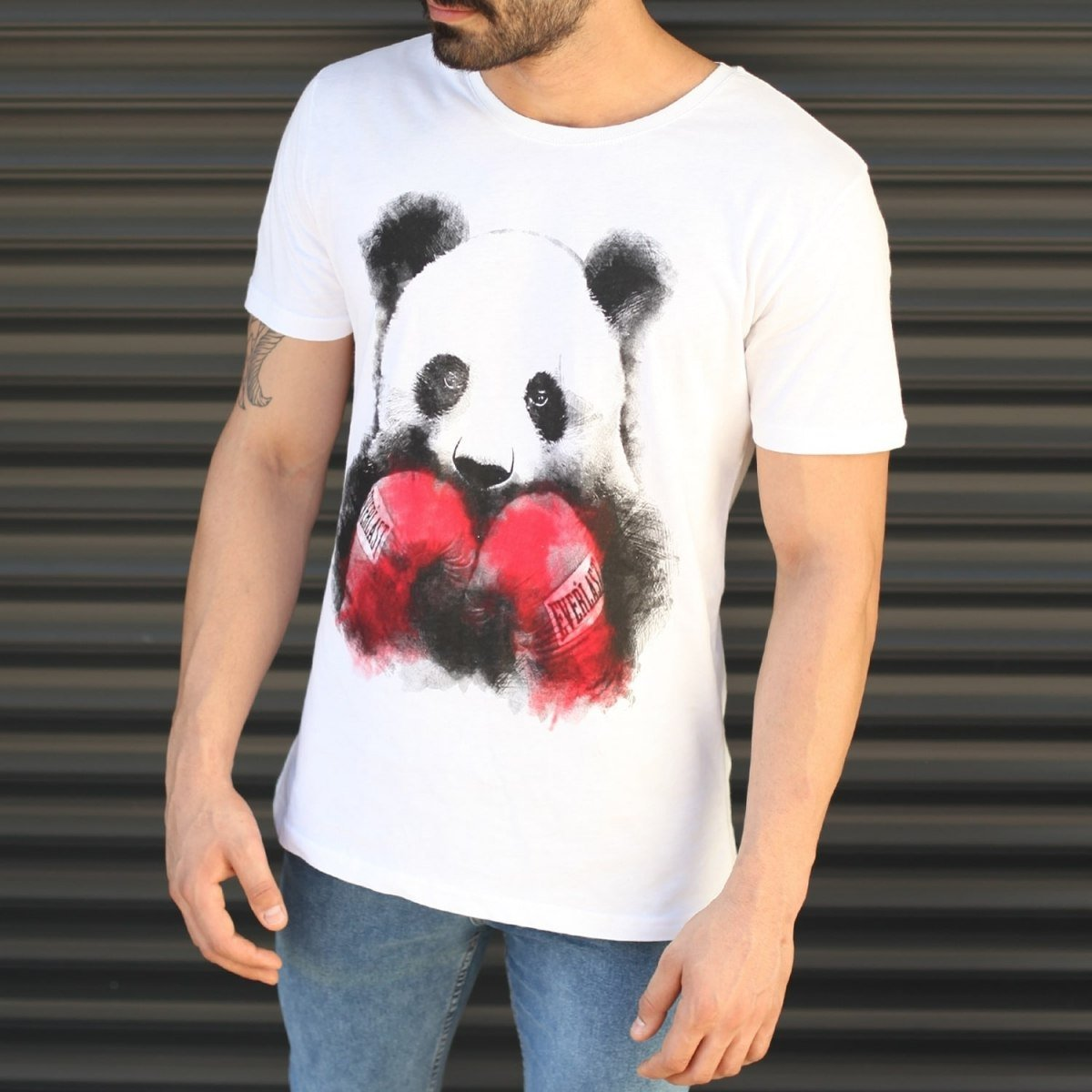 Men's Sporty Panda Printed Fit T-Shirt In White Mv Premium Brand - 2