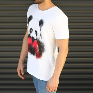 Men's Sporty Panda Printed Fit T-Shirt In White Mv Premium Brand - 3